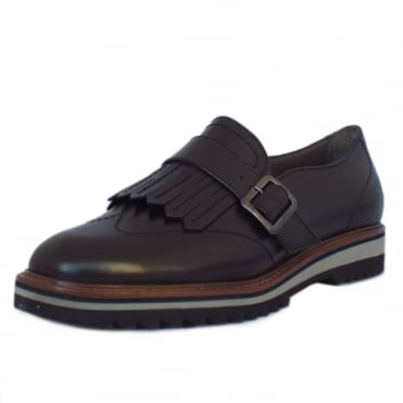 Paris 8-24702-27 Wide Fit Slip On Shoes in Black Leather