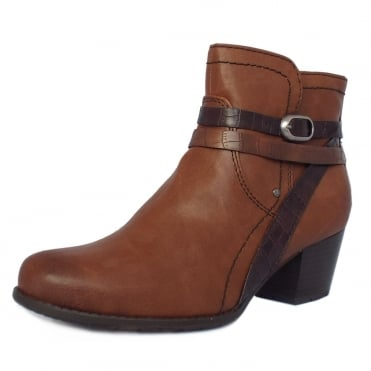 Pendragon Fashion Fleece Lined Ankle Boots in Chestnut