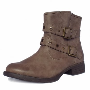 Provence Modern Low Heel Biker Boots in Taupe
