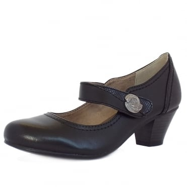 Rutland Women's Wide Fit Smart-Casual Mary-Jane Mid Heel Shoes in Black