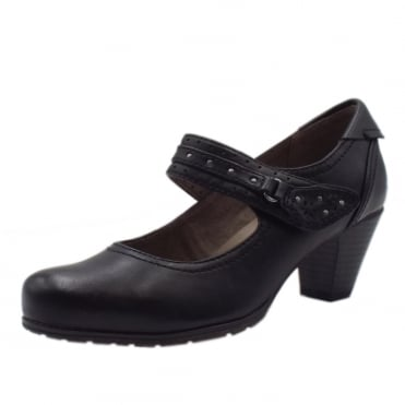 Secrets Wide Fit Smart-Casual Mary-Jane Mid Heel Shoes in Black
