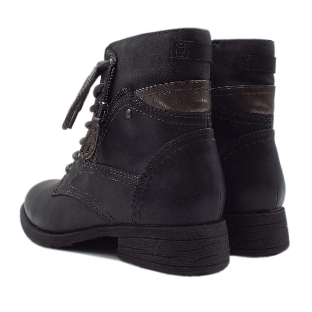 23b486664b2f Soft Line 25217 Crested Wide Fit Smart-Casual Ankle Boot in Asphalt