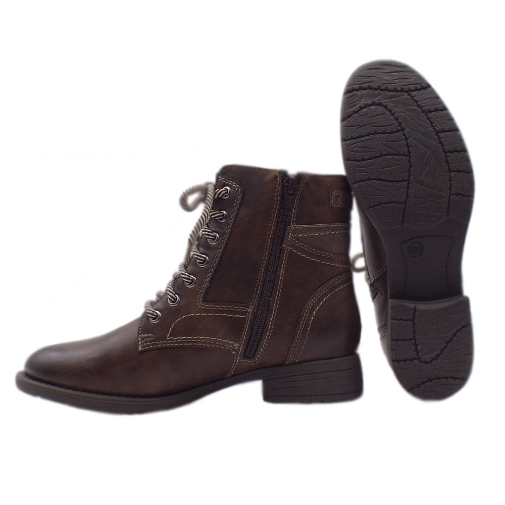 f89b5c267ab0 Soft Line 25217 Crested Wide Fit Smart-Casual Ankle Boot in Chestnut