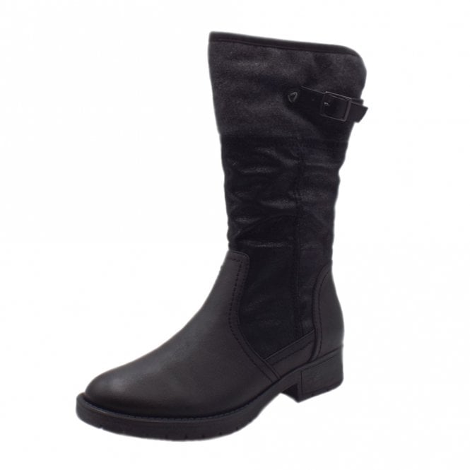 Jana Soft Line 25463 Peking Stylish Wide Fit Fleece Lined Boot in Black