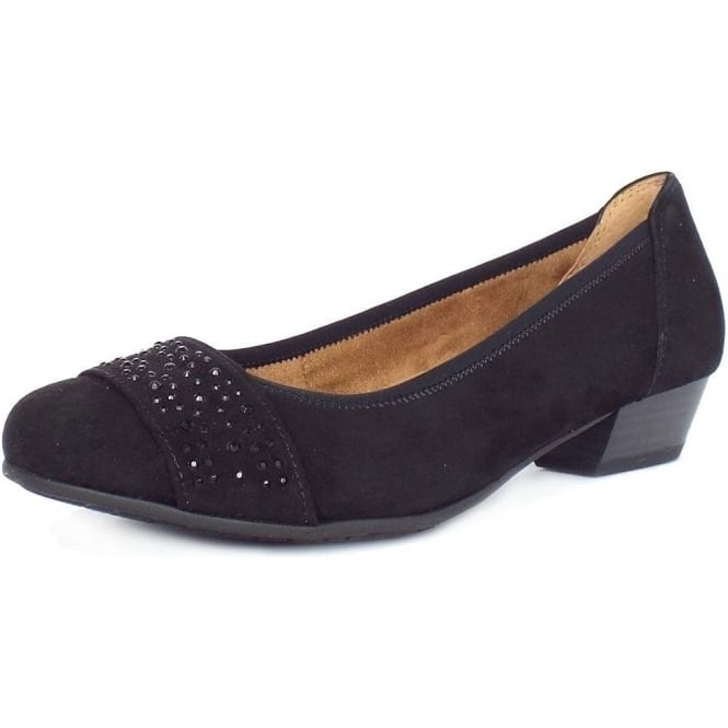 Jana Stamford Women's Smart-Casual Wide Fit Shoes in Black Suede
