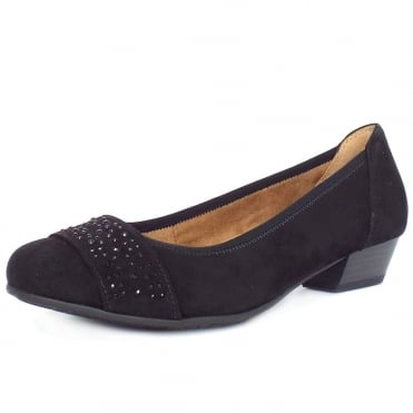 Stamford Women's Smart-Casual Wide Fit Shoes in Black Suede