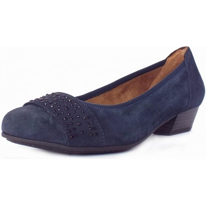 Jana Stamford Women's Smart-Casual Wide Fit Shoes in Navy Suede