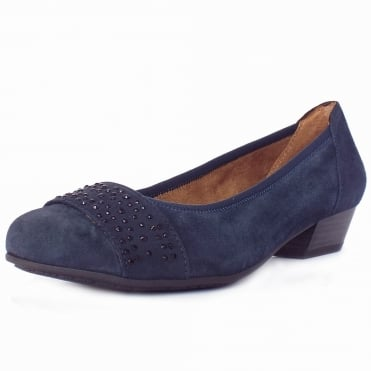 Stamford Women's Smart-Casual Wide Fit Shoes in Navy Suede