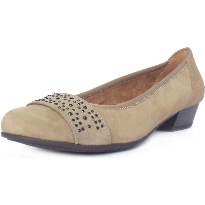 Jana Stamford Women's Smart-Casual Wide Fit Shoes in Taupe Suede