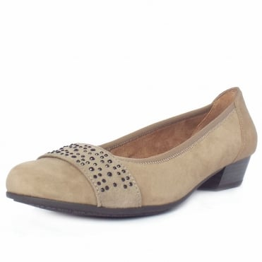 Stamford Women's Smart-Casual Wide Fit Shoes in Taupe Suede