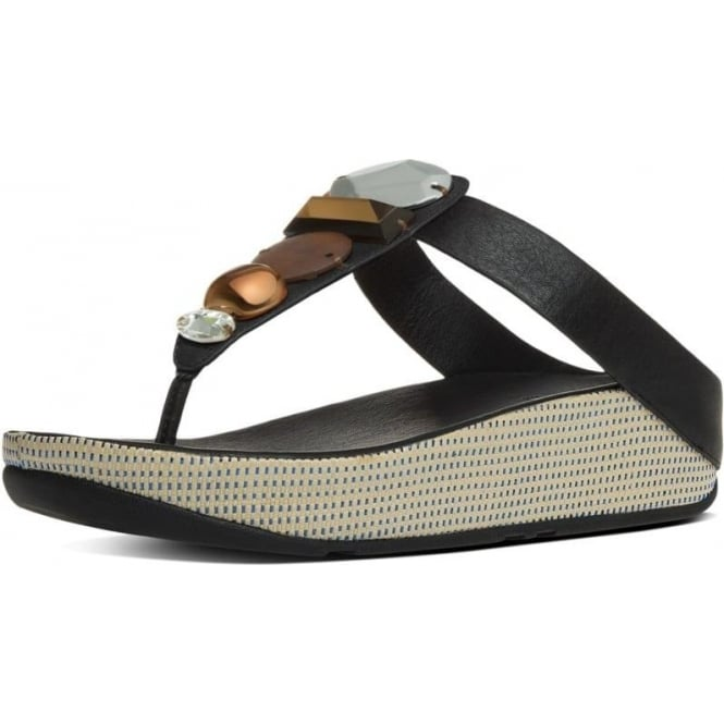 38121edce57 Jeweley™ Women  039 s Leather Toe Post Sandals With Jewels in Black