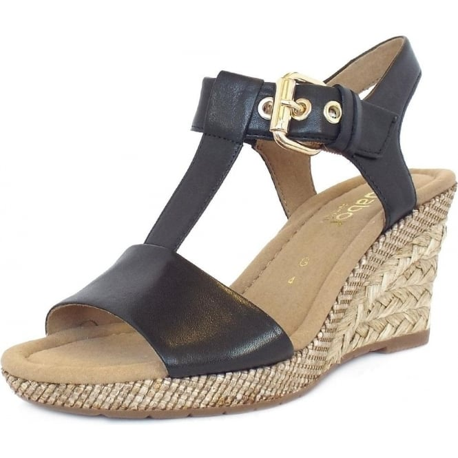 d6b628cee26ac Gabor Karen | Women's Woven Effect Wedge Sandals in Black Leather