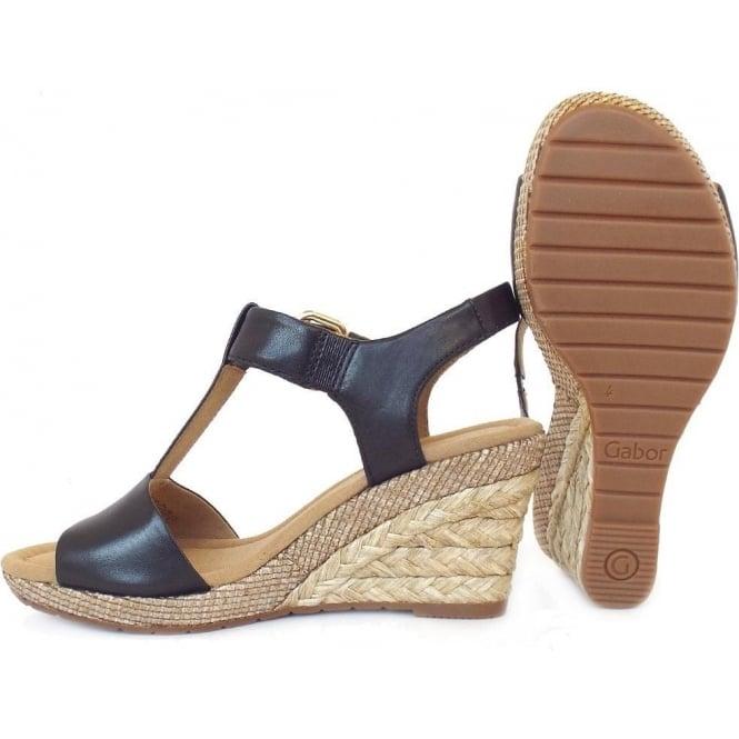 2ee06e32bdd Karen Women  039 s Modern Wedge Sandals in Black Leather