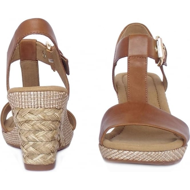 8ac34af2180 Karen Women  039 s Modern Wedge Sandals in Peanut Brown Leather