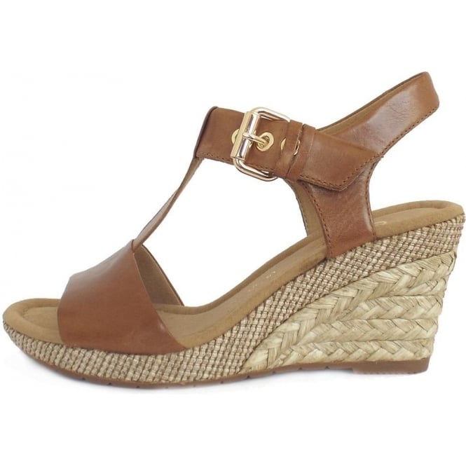 2960bc5595b88 Gabor Karen | Women's Woven Effect Wedge Sandals in Tan peanut Leather