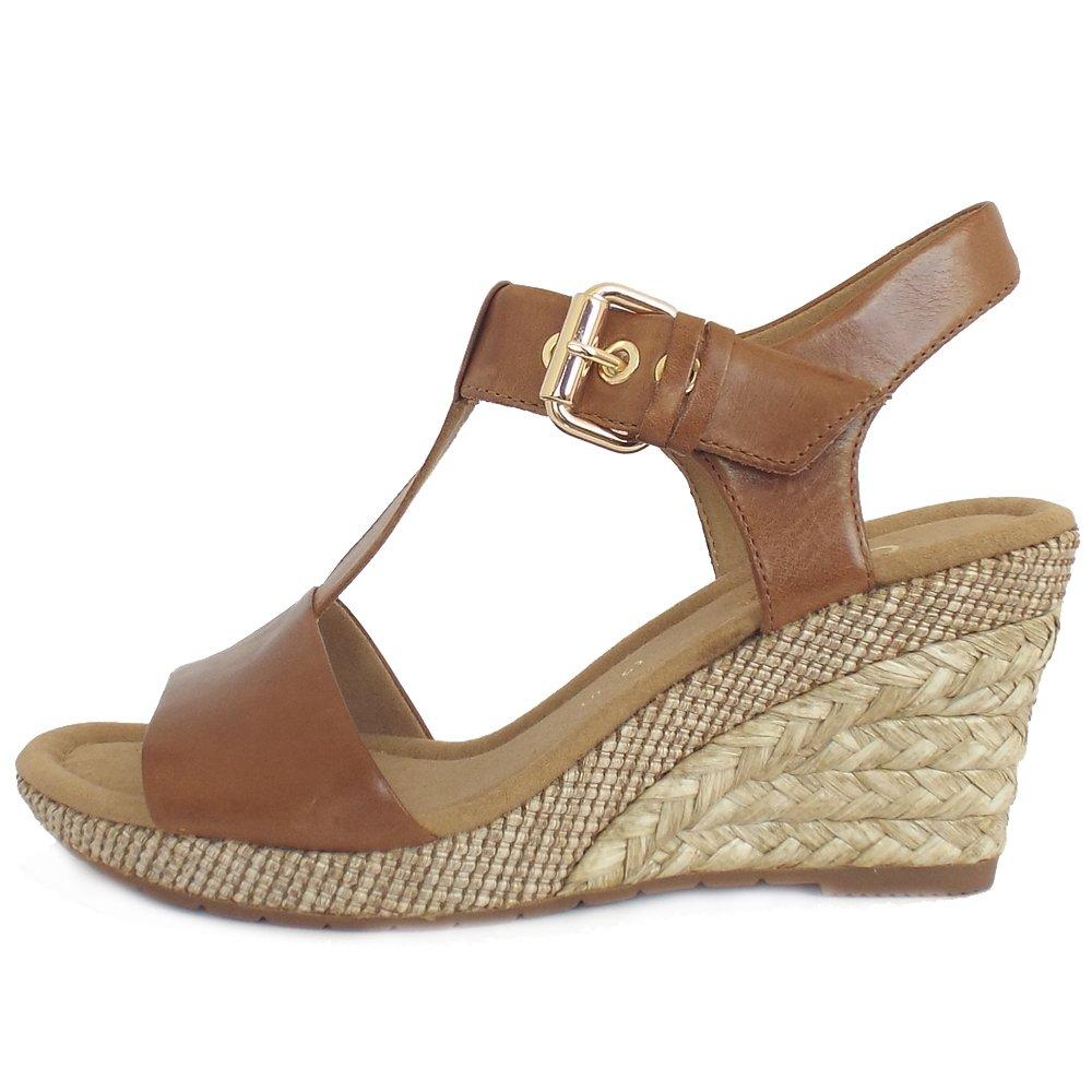 Gabor Karen Women S Woven Effect Wedge Sandals In Tan