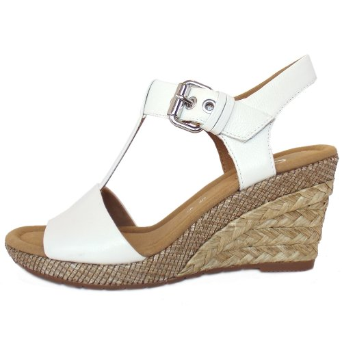 dadfdaf80bce4 Gabor Karen | Women's Woven Effect Wedge Sandals in White Leather