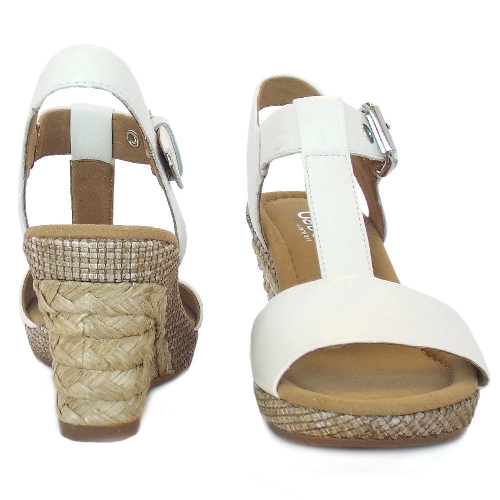 gabor s woven effect wedge sandals in white