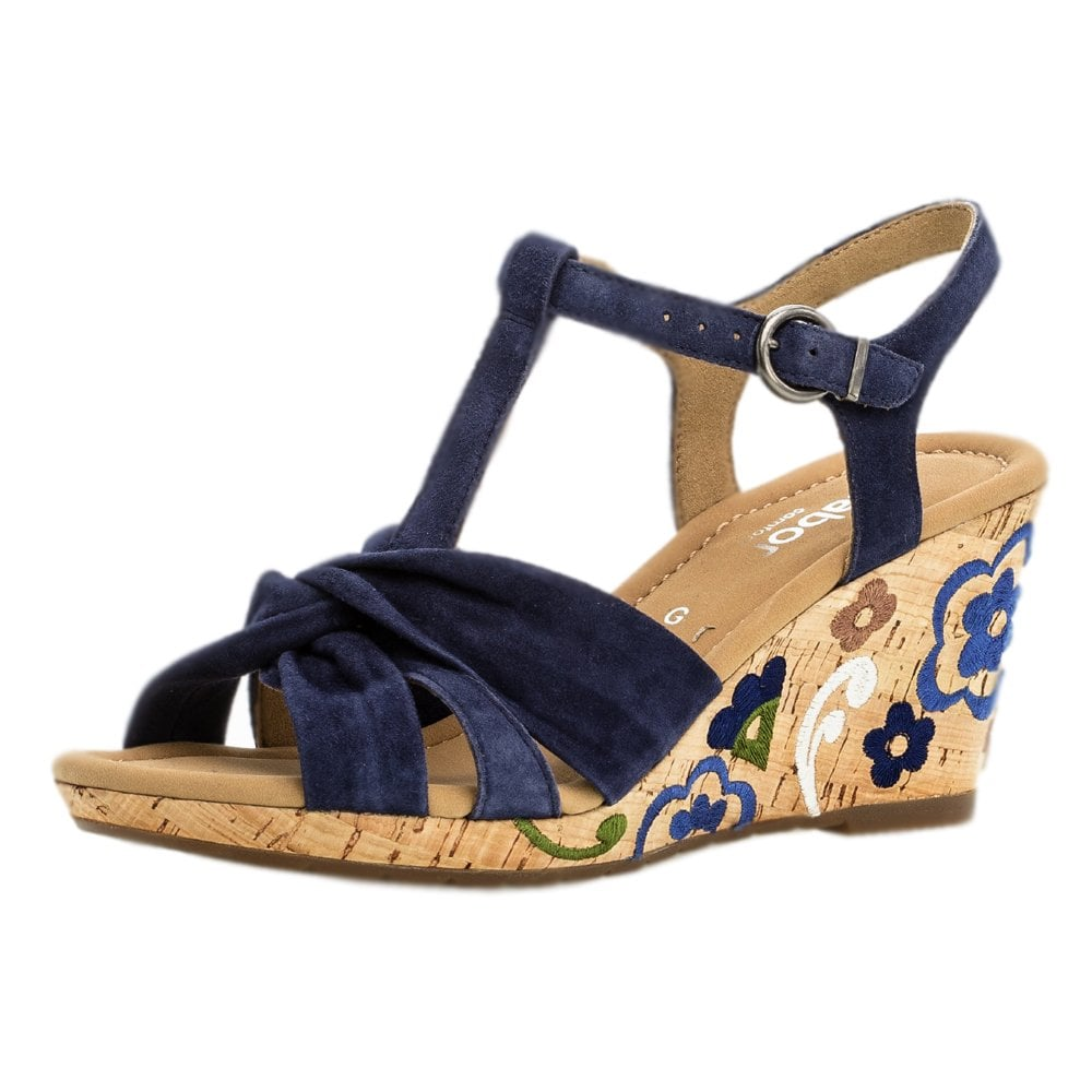 9be4701a80a35 Gabor Gabor Kennedy Stylish Wide Fit Wedge Sandals in Navy Suede