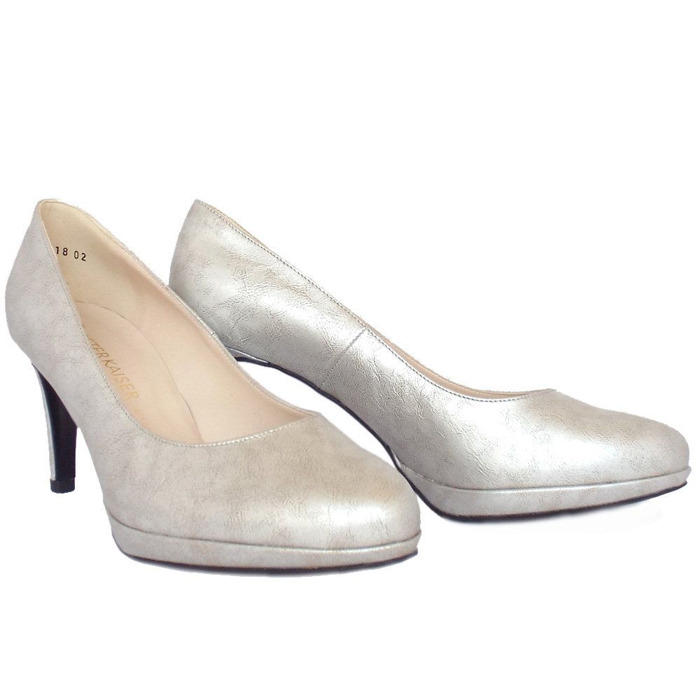 Silver Leather Court Shoes Size  With Matching Bag