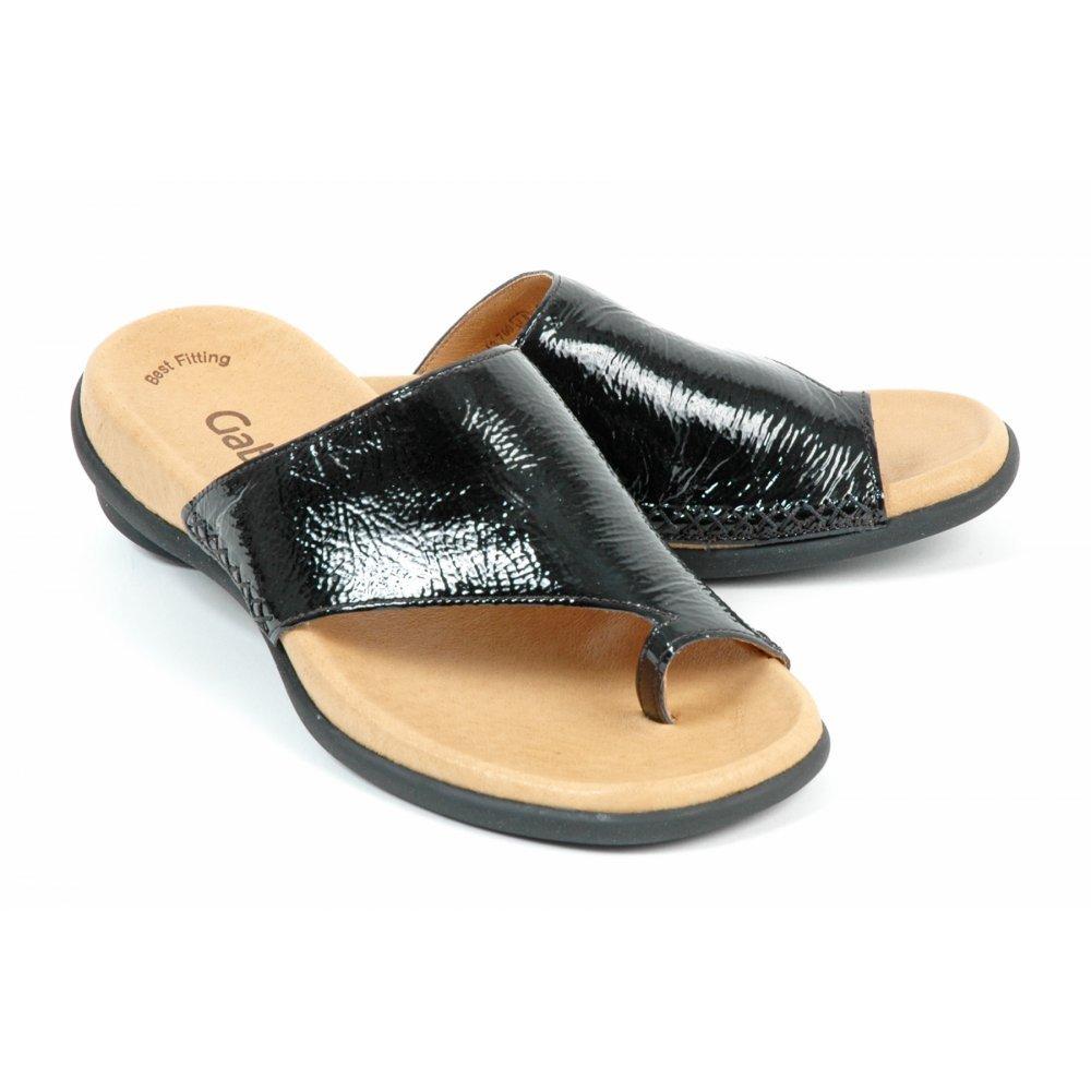 Gabor Sandals Lanzarote Ladies Toe Loop Mule In Black