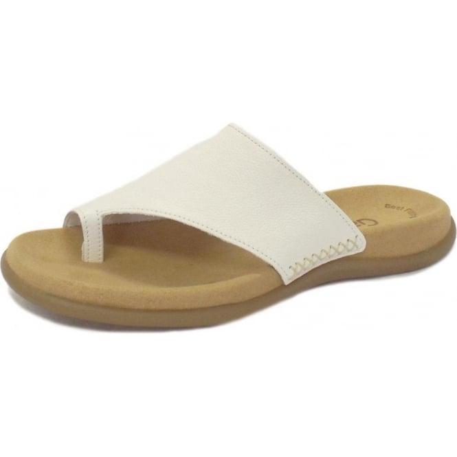Lanzarote Ladies Toe Loop Mule Sandals in White