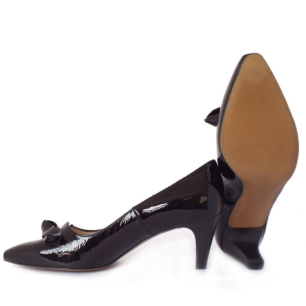 kaiser leola mid heel court shoes in black patent