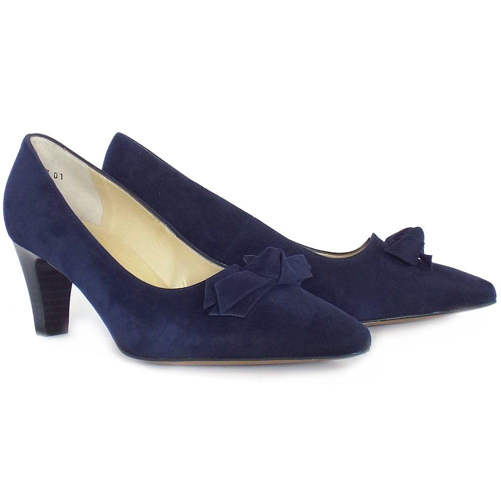 Peter Kaiser Leola Mid Heel Court Shoes In Navy Suede