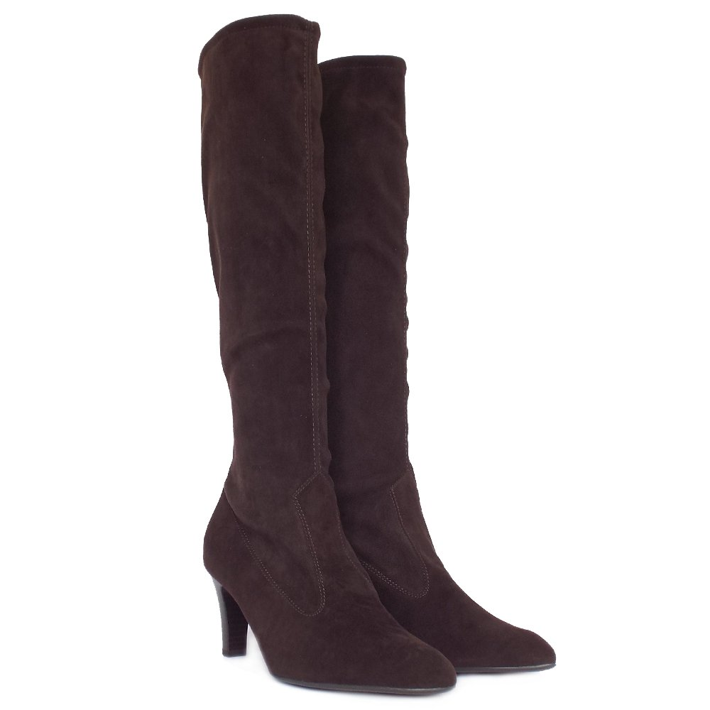 kaiser levke pull on stretch boots in brown suede