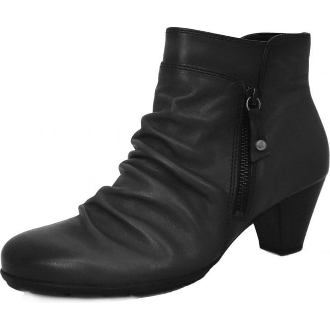 Lexy Slouch Style Ankle Boot in Black Leather