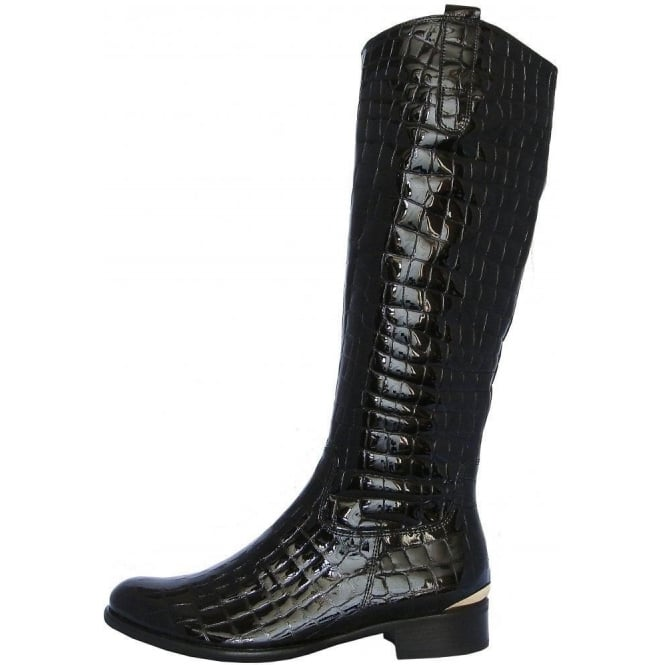 8c693fa9000 Gabor Library Womens Knee High Boot In Black Patent