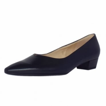Limba Pointed Toe Low Heel Court Shoes in Navy Leather