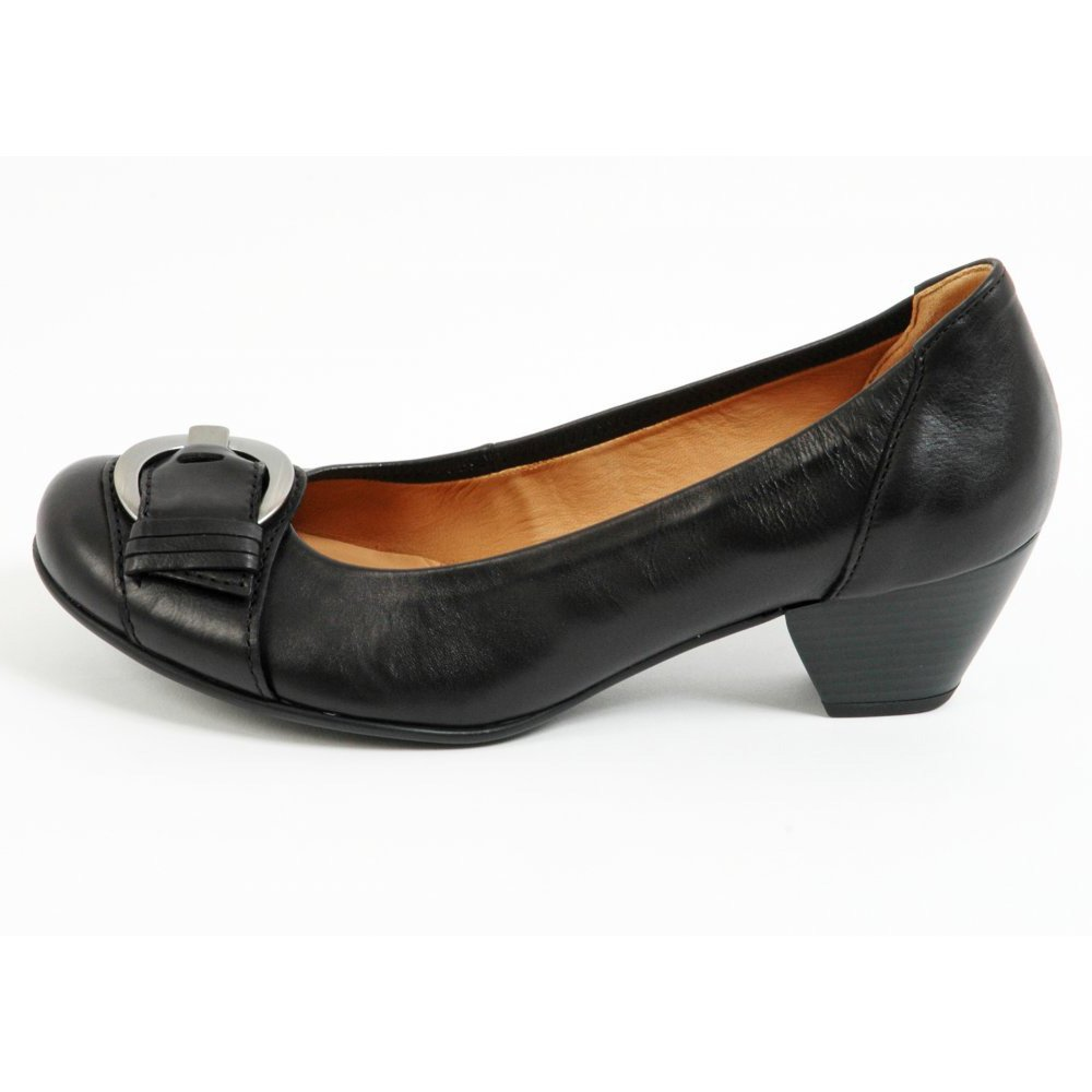 gabor shoes lincoln low heel shoe in black mozimo