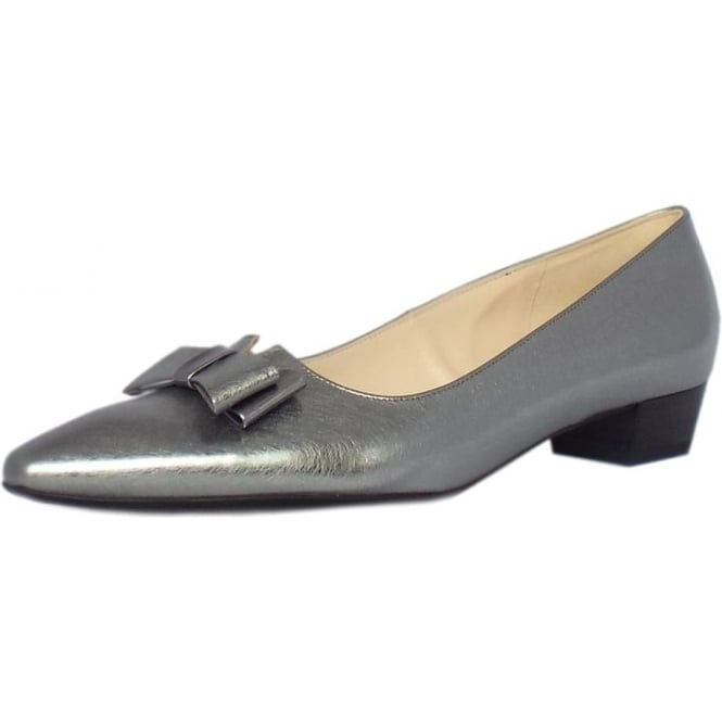 92c81dd7af1 Lisa Women  039 s Low Heel Dressy Shoes in Brushed Effect Steel Silver