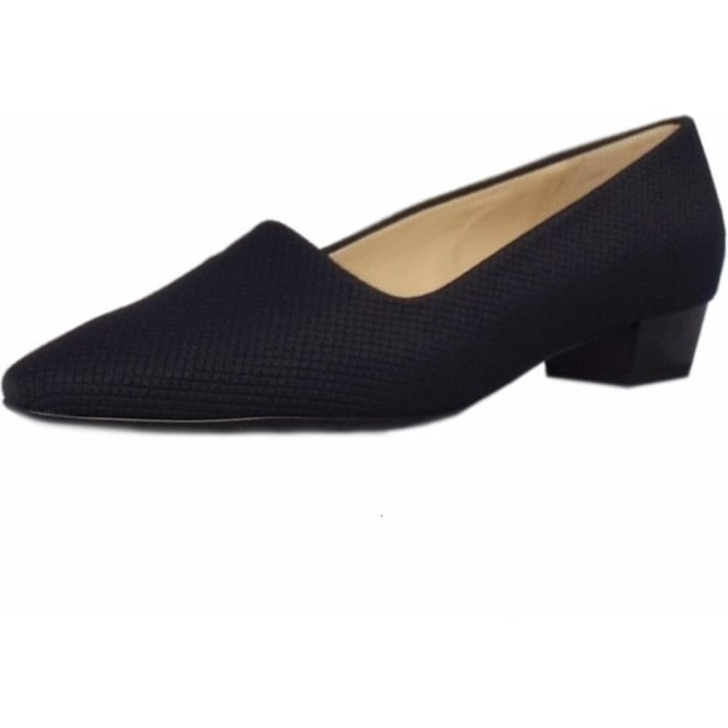 Peter Kaiser Lisana Pointed Toe Low Heel Courts in Navy Textile