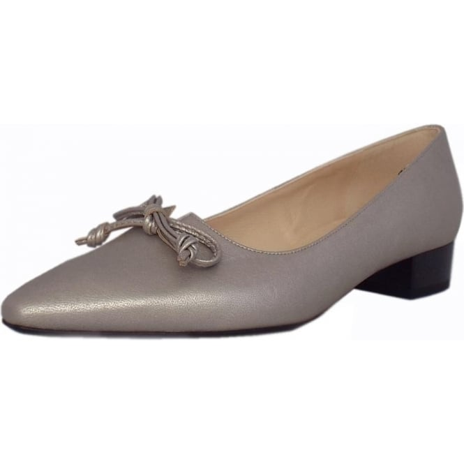 Peter Kaiser Lizzy Pointed Toe Low Heel Courts in Silver Furla Leather