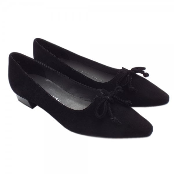 c926379b171 Lizzy Pointed Toe Low Heel Shoes In Black Suede