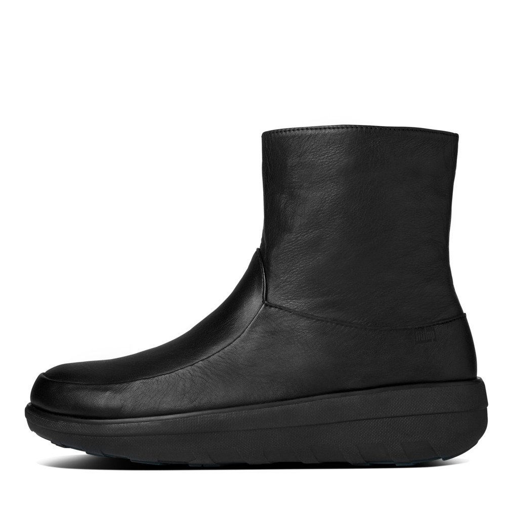 fitflop loaff shorty zip boot in all black leather