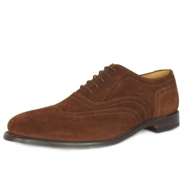 Loake 202 Full Brogue Shoes in Brown Suede