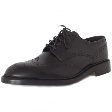 Loake Chester Premium Classic Brogue Shoes in Black