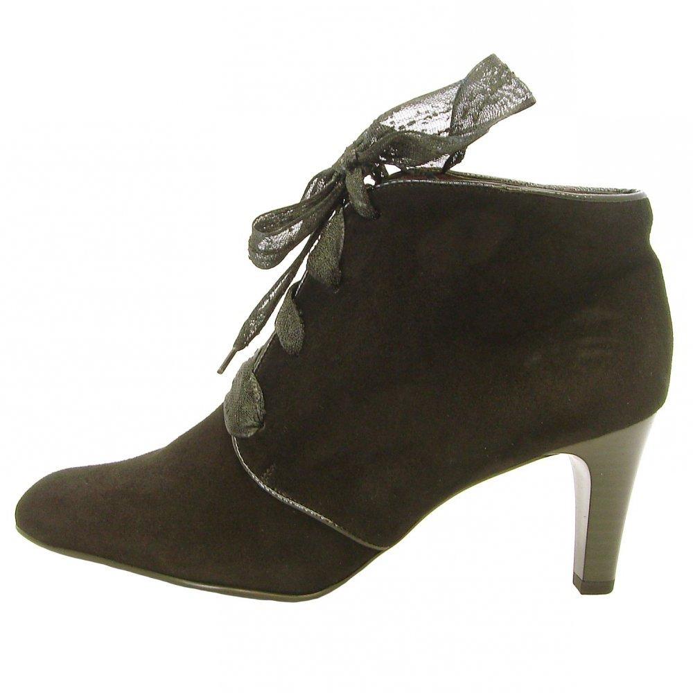 kaiser lore mid heel shoe boots in black suede