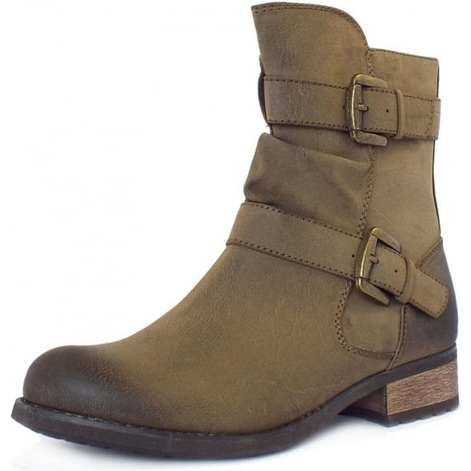 Lotus Avon Biker Boots With Straps In Olive Green
