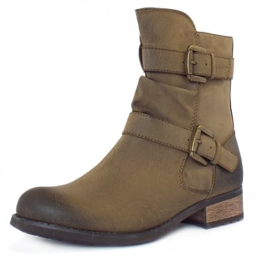 Avon Biker Boots With Straps In Olive Green