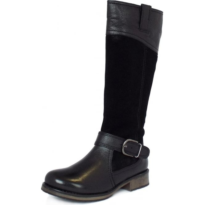 Lotus Breeze Knee High Casual Boots In Black Leather And Suede