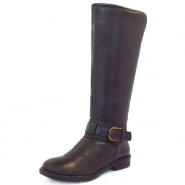 Lotus Charlie Fold Over Knee High Boots In Brown Leather