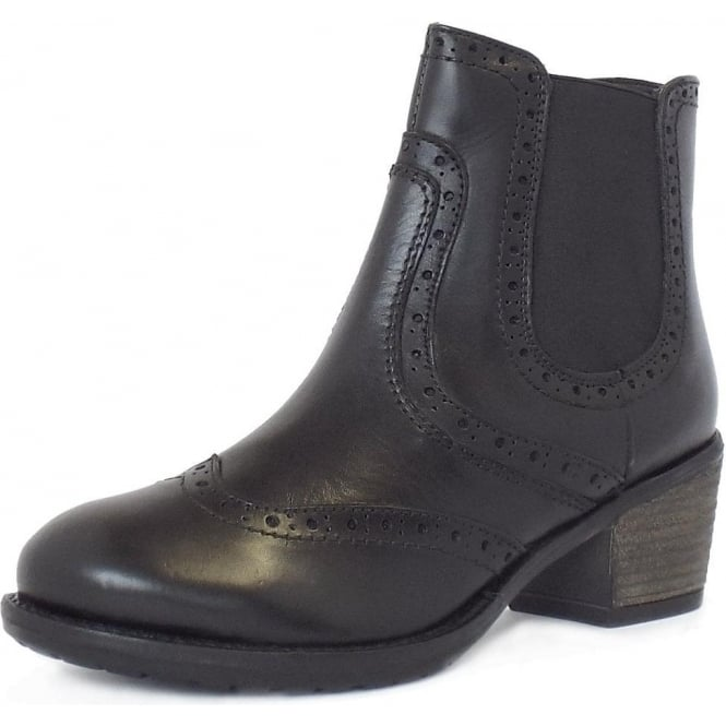 Lotus Daria Block Heel Zip-Up Brogue Boots In Black Leather