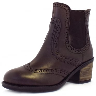 Lotus Daria Block Heel Zip-Up Brogue Boots In Brown Leather