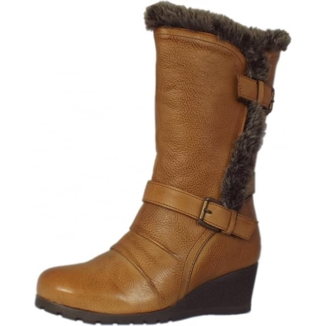 Lotus Krissy Fur Trim Wedge Boots in Tan