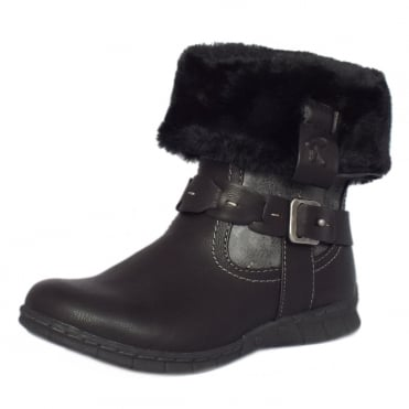 Lotus Roxana Fur Trim Fold Over Short Boots In Black