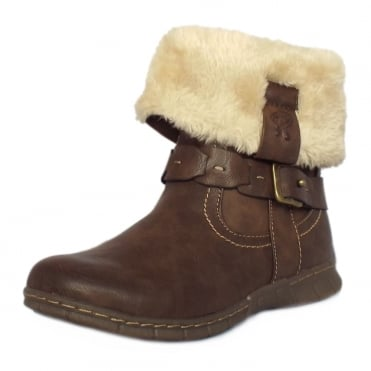 Lotus Roxana Fur Trim Fold Over Short Boots In Brown